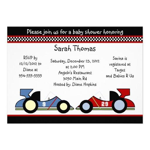 Race Cars Baby Shower/BirthdayInvitations Personalized Invite