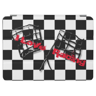 Race flag on a race black and white background iPad air cover