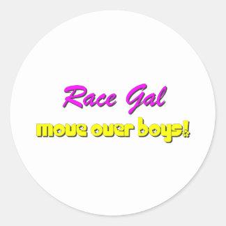 Race Gal Round Sticker