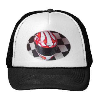 Race Helmet on Oval Checkered Flag Trucker Hats