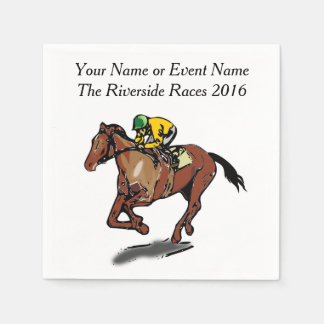 Race Horse and Jockey Custom Steeplechase Party Paper Napkin