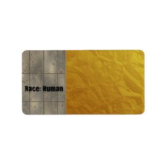 Race: Human Address Label