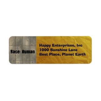 Race: Human Return Address Label