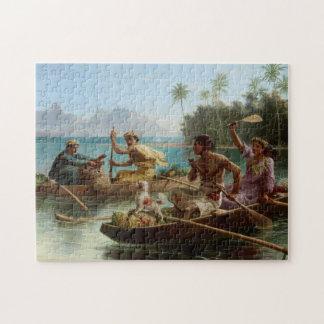 'Race to the Market, Tahiti' - Nicholas Chevalier Jigsaw Puzzle