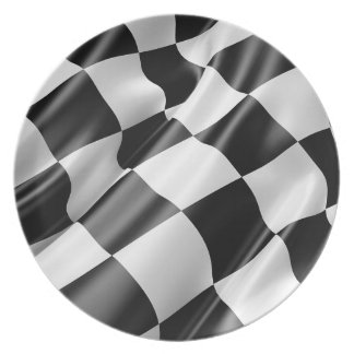 Race Track Flag Flag Black And White Finish Speed Plate