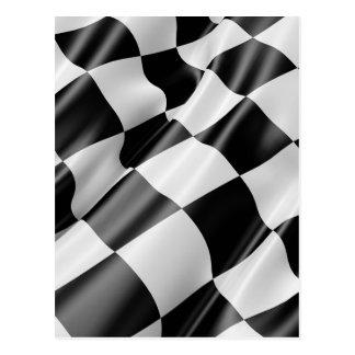 Race Track Flag Flag Black And White Finish Speed Postcard