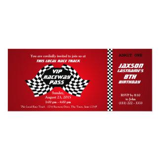 Race Track Pass Birthday Ticket 10 Cm X 24 Cm Invitation Card