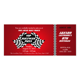 Race Track Pass Birthday Ticket Invites