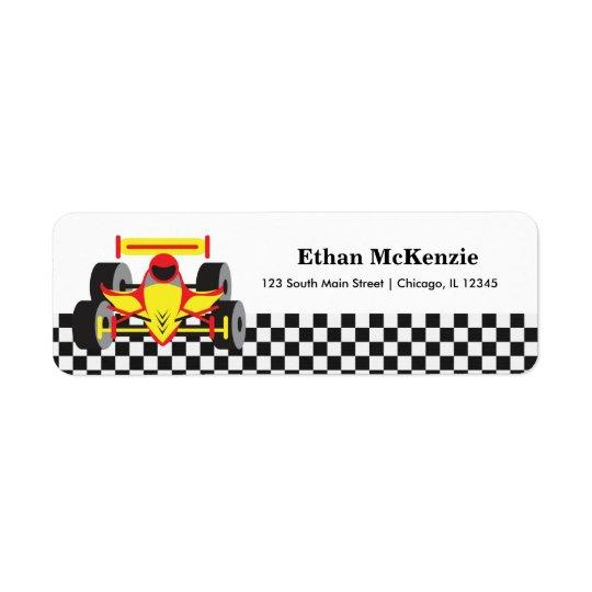 Racecar Return Address Label