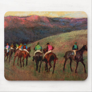 Racehorses in a Landscape jockeys horse art Degas Mouse Pads