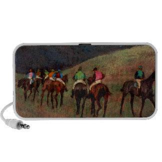 Racehorses in a Landscape jockeys horse art Degas Travelling Speakers