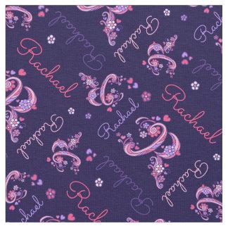 Rachael letter R monogram heart flowers fabric