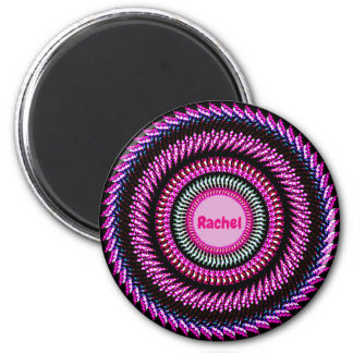 RACHEL ~ Pink and Black Abstract Pattern Fractal ~ Magnet