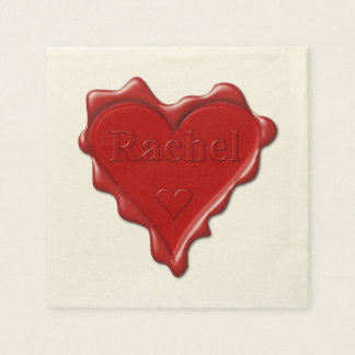 Rachel. Red heart wax seal with name Rachel Disposable Napkin