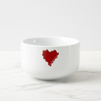 Rachel. Red heart wax seal with name Rachel Soup Mug