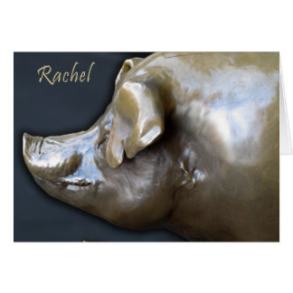RACHEL THE PIGGY BANK Greeting Card