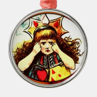 Rachel the Queen of Hearts upset Metal Ornament