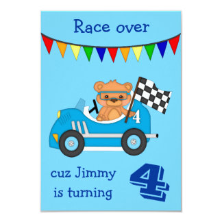 Racing Bear Kids Birthday Party Card