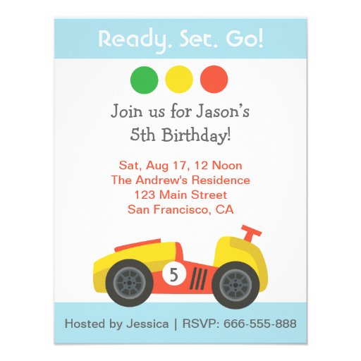 Racing Birthday Theme Party Personalized Invitation