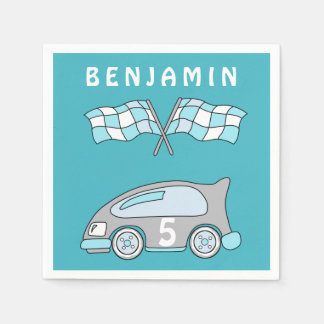 Racing Car Birthday Party with Name Disposable Napkin