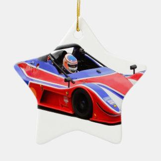 racing car ceramic ornament