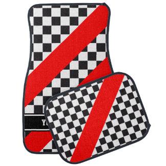 Racing Car Pattern + your backgr. color & text Car Mat