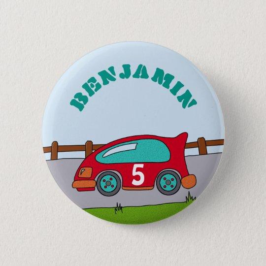 Racing Car Personalizable Birthday 6 Cm Round Badge