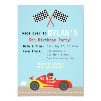 Racing Car Theme, Birthday Party for the Boys Card