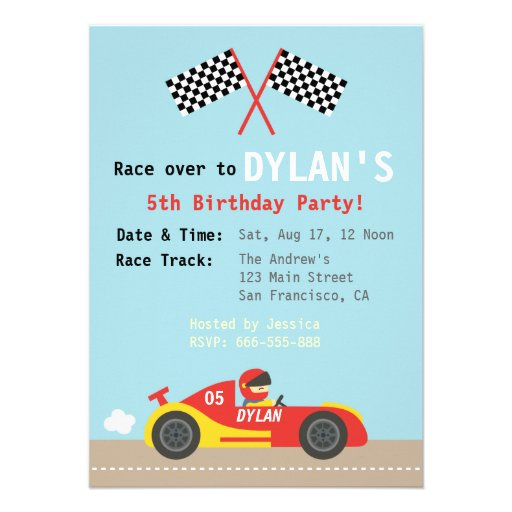 Racing Car Theme, Birthday Party for the Boys Custom Invitations