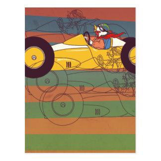 Racing Car Vintage Chicken Postcard