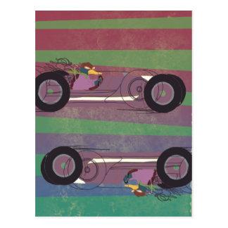 Racing Car Vintage Duck Postcard