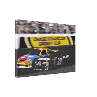 Racing Cars at High Speed on a Racing Track Canvas