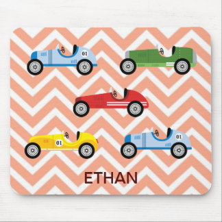 Racing Cars Auto Colorful Assorted on Chevron Mouse Pad