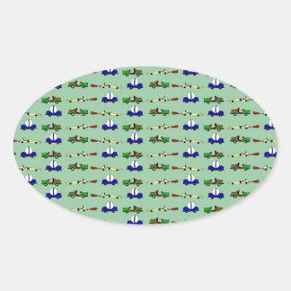 racing cars oval sticker