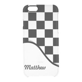 Racing Check Black White Checkered + Name Clear iPhone 6/6S Case