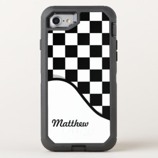 Racing Check Black White Checkered + Name OtterBox Defender iPhone 8/7 Case