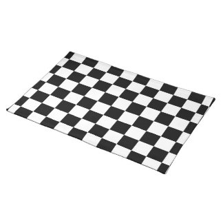 Racing Check Black White Checkered Place Mat