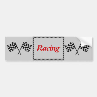 Racing Checkerboard Flags Bumper Sticker