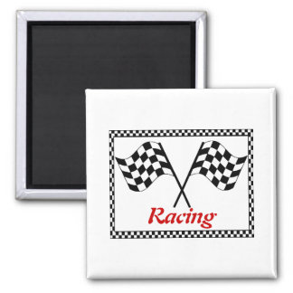 Racing Checkerboard Flags Square Magnet