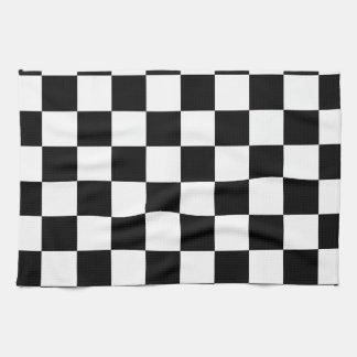 Racing Checkered Flag Pattern Large Black Tea Towel