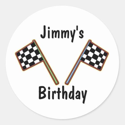 Racing Checkered Flags Birthday Sticker