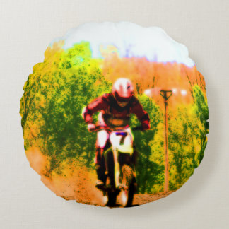 Racing Dirtbike Daredevil Round Cushion