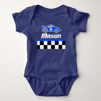 Racing driver blue car custom name baby boy romper baby bodysuit