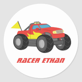Racing Fiery Red Monster Truck, for Boys Classic Round Sticker