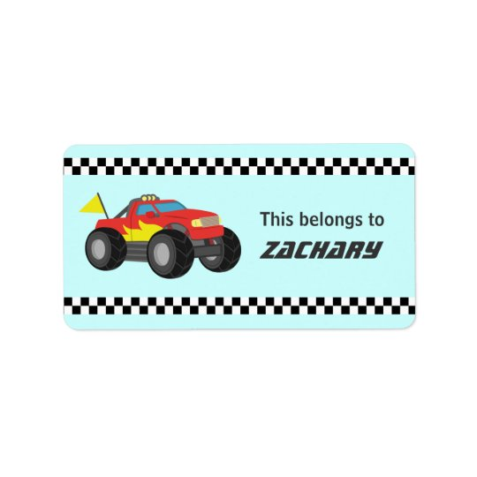 Racing Fiery Red Monster Truck, for Boys Label