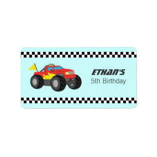 Racing Fiery Red Monster Truck Party Label