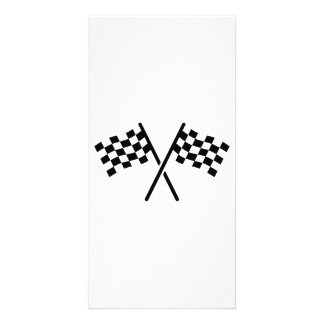 Racing finish flags personalised photo card