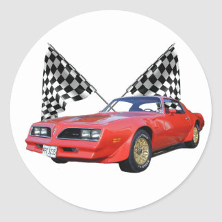 Racing Flags and Hot Rod Round Sticker