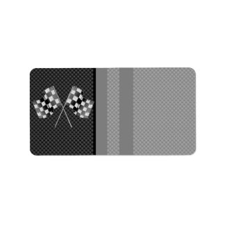 Racing Flags Stripes in Carbon Fiber Style Decor Label