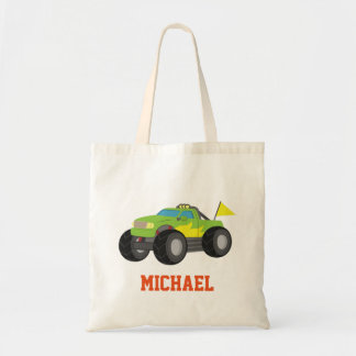 Racing Green Monster Truck for Racer Boys Budget Tote Bag